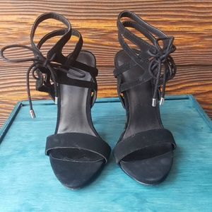 ASOS Black Suede Heeled Sandals